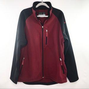 Nike fleece jacket dark red and black